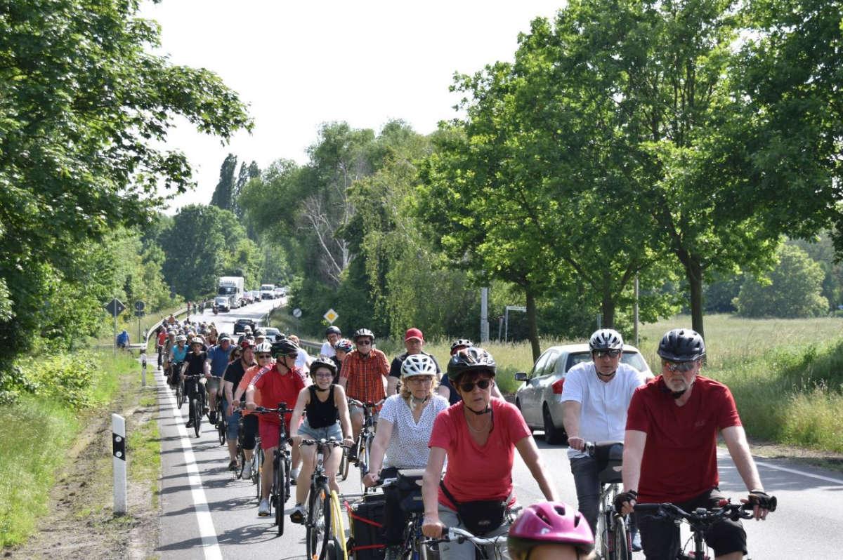 Fahrraddemonstration im Sommer 2021 in Taucha